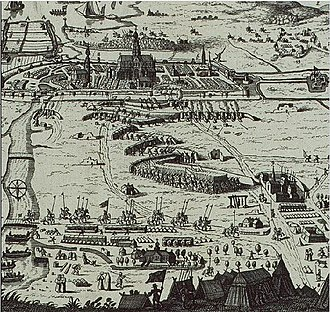 Haarlem - Sketch of the siege of Haarlem seen from the North, with Het Dolhuys on the right, and the river Spaarne on the left