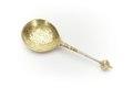 Sked av förgyllt silver med smalt, runt skaft, kulformig knopp med bladornament - Skoklosters slott - 92254.tif