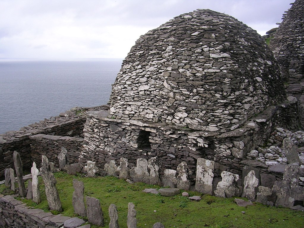 Skellig Michael, Ireland. Cemetery and large oratory.