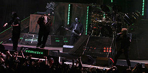All Hope Is Gone World Tour - Slipknot performing at the White River Amphitheatre on July 9, 2008 From left to right: Mick Thomson, Shawn Crahan, Craig Jones, Paul Gray, Joey Jordison, Corey Taylor