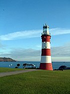 Smeaton's Lighthouse, now re-erected on Plymouth Hoe.