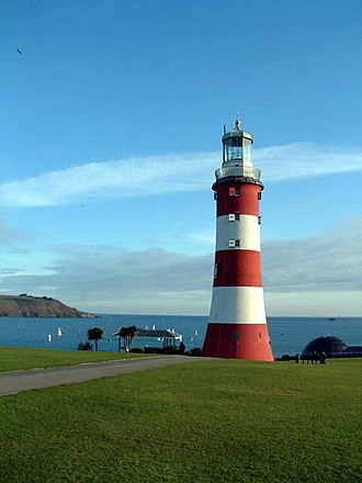 Plymouth Hoe - Smeaton's Tower, as re-erected on Plymouth Hoe.