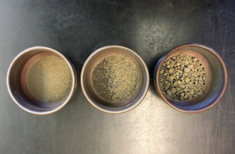 Soil aggregate stability - Soil sieve nests after removal from the oven with dry soil aggregates