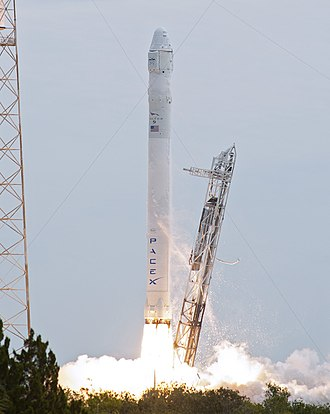 Falcon 9 - A Falcon 9 v1.0 launches with a Dragon spacecraft delivering cargo to the ISS in 2012.