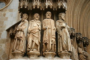 Tarragona Cathedral - Figures of apostles in the main portal.