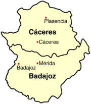 Mapa de Extremadura.
