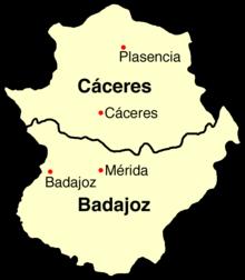 Mappa dell'Estremadura