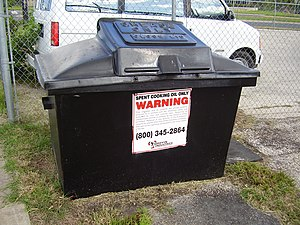 A bin for spent cooking oil in Austin, TX