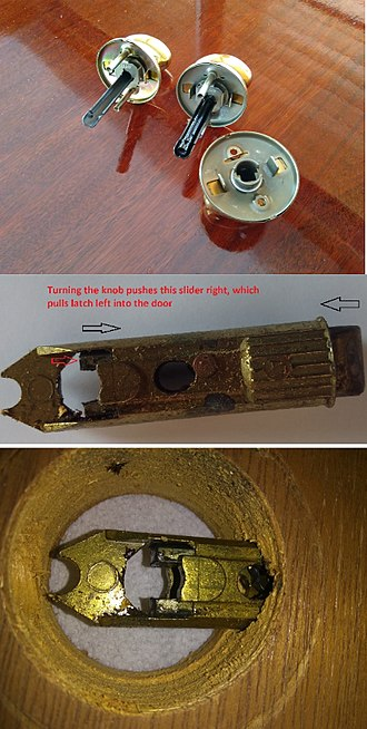 Latch - Knob has crescent-shaped bar which pulls back latchbolt when turned. Version on upper right has a lock; version on upper left does not. Kwikset uses this shape. Other companies have square or D-shaped bars.
