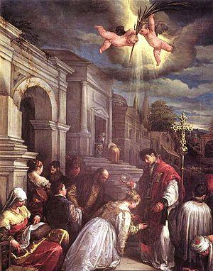 Saint Valentine - Saint Valentine baptizing Saint Lucilla by Jacopo Bassano