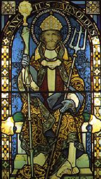 Arnold of Soissons - St. Arnold of Soissons is often depicted with a bishop's mitre and a mash rake.