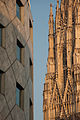 St. Stephen's Cathedral (partial) vs modern architectural pattern. Vienna, Austria, Central Europe. October 20, 2012.jpg