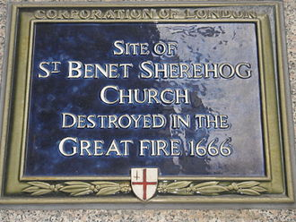 St Benet Sherehog - Plaque marking the site of the church in Sise Lane