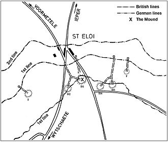 Actions of St Eloi Craters - Image: St Eloi near Ypres mine plan 27 March 1916