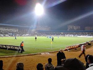 FK Jagodina - The Jagodina City Stadium during a championship match against Partizan Belgrade in 2013.