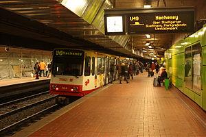Dortmund Stadtbahn - The U41/U45/U47/U49 platform in the Kampstraße station of the Dortmund Stadtbahn