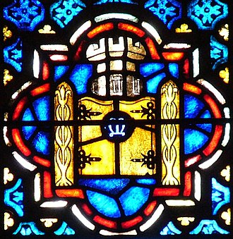 Ivory tower - Modern stained glass image of an ivory tower with Marian symbols (the letter M and lilies)