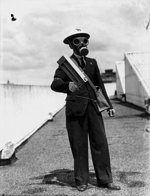 Civil defense - Air Raid Warden testing his equipment in Brisbane in October 1942.