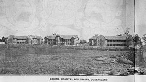 History of soccer in Brisbane, Queensland - Goodna (formerly 'Woogaroo') Asylum ca 1919, showing football field in the foreground