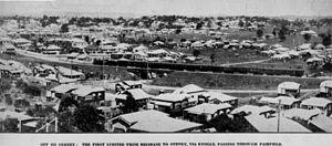 Beenleigh railway line - Image: State Lib Qld 2 43195 Interstate train passing through Fairfield, Brisbane, 1930
