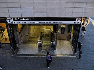 T-Centralen - The entrance to T-Centralen from Vasagatan