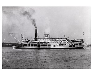 "Ohio River - Steamboat ""Morning Star"", a Louisville and Evansville mail packet, in 1858."