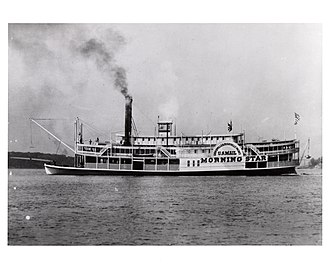 "Steamboat Morning Star, a Louisville and Evansville mail packet, in 1858. Steamboat ""Morning Star"", 1858.jpg"