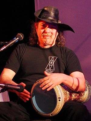 Steven Brust - Brust on drum at Cats Laughing reunion concert, April 2015
