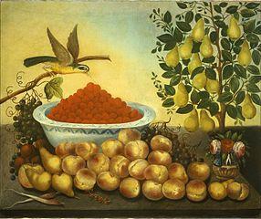Still Life: Fruit, Bird, and Dwarf Pear Tree