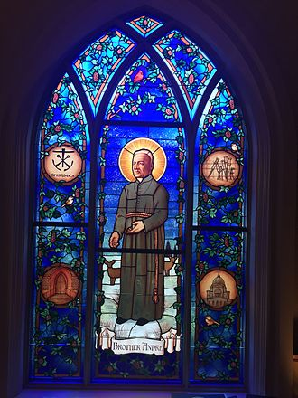 André Bessette - Stained Glass window with Andre Bessette at the University of Notre Dame