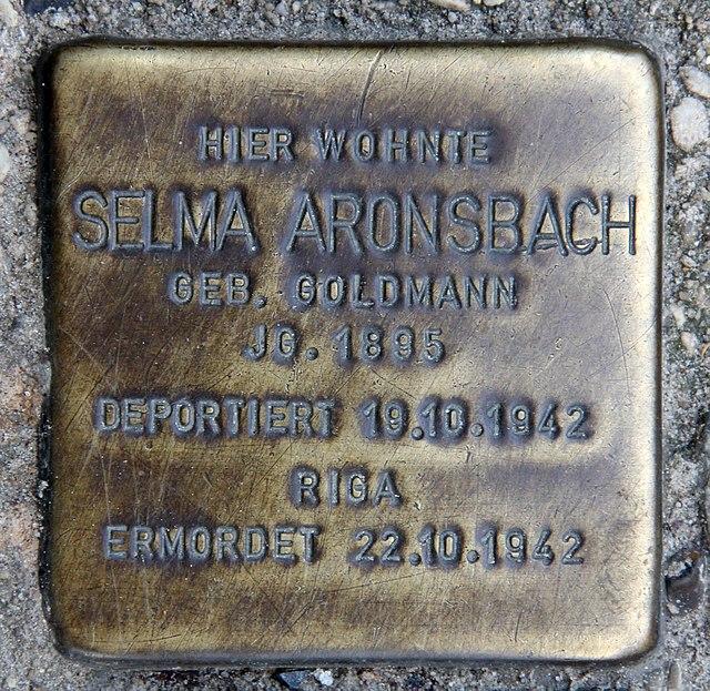 Photo of Selma Aronsbach brass plaque
