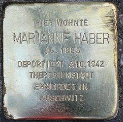 Photo of Marianne Haber brass plaque