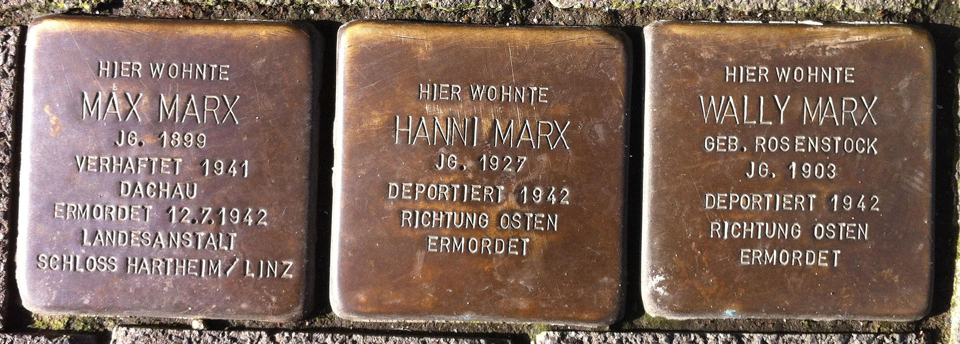 Stolpersteine Max Marx, Hanni Marx, Wally Marx.JPG