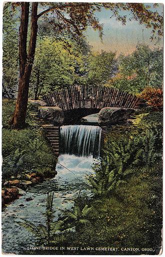 West Lawn Cemetery - Stone Bridge in West Lawn Cemetery, Canton, Ohio (1916)