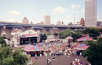 Henry Maier Festival Park - The Pabst Showcase located on the Henry W. Maier Festival Grounds during the 1994 Summerfest, with Downtown Milwaukee and Interstate 794 in the background.