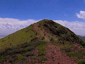 North Franklin Mountain - The summit ridge of North Franklin Mountain, with its characteristic iron-rich volcanic rock