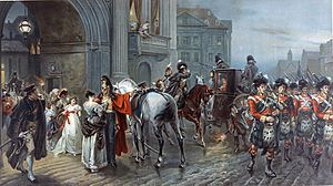 Robert Alexander Hillingford - Summoned to Waterloo — depicts revellers leaving the Duchess of Richmond's ball as soldiers march out of Brussels to war
