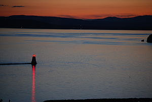 Sunset on Lake Champlain, taken from hotel win...
