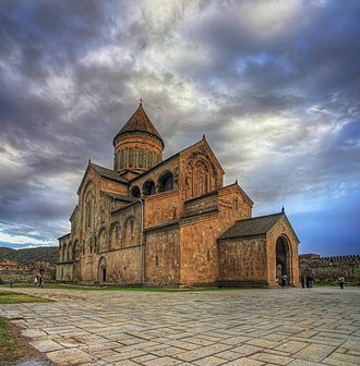 History of the Caucasus - Svetitskhoveli Cathedral in Georgia, original building completed in the 4th century. It was a religious centre of monarchical Georgia. It is a UNESCO World Heritage Site.