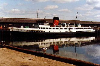 TS Queen Mary - TS Queen Mary laid up at Greenock in 1981, still in Caledonian MacBrayne colours