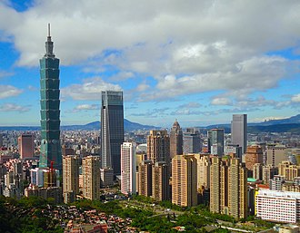 Xinyi District, Taipei - Xinyi District skyline in 2017, featuring many skyscrapers, such as the tallest building in Taiwan - the Taipei 101.