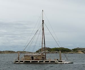 Kon-Tiki expedition - Tangaroa anchored by Stavern, Norway