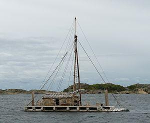 Kon-Tiki expedition - Tangaroa anchored by Stavern, Norway