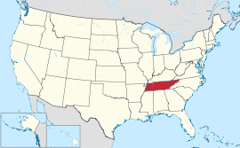 Map of the United States with Tennessee highlighted