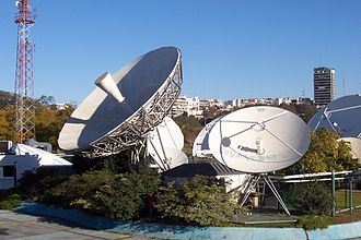Television in Argentina - Satellite transmitters at Channel 7, Buenos Aires.