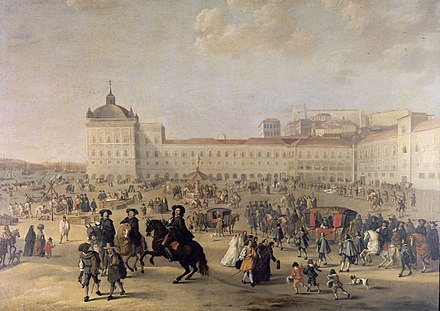 Ribeira Palace and the Terreiro do Paco depicted in 1662 by Dirk Stoop. Terreiro do Paco em 1662.jpg