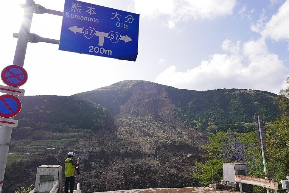 The Aso-Ohashi bridge fallen by a landslip of the 2016 Kumamoto earthquakes