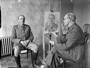 Alan Brooke, 1st Viscount Alanbrooke - Lieutenant General A. F. Brooke sits for a portrait being painted by Reginald Eves, 30 April 1940.