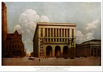 Pittsburgh City-County Building - Architect's rendering, published in 1916