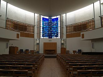Pangbourne College - The interior of the chapel, showing John Clark's stained glass memorial window (centre)
